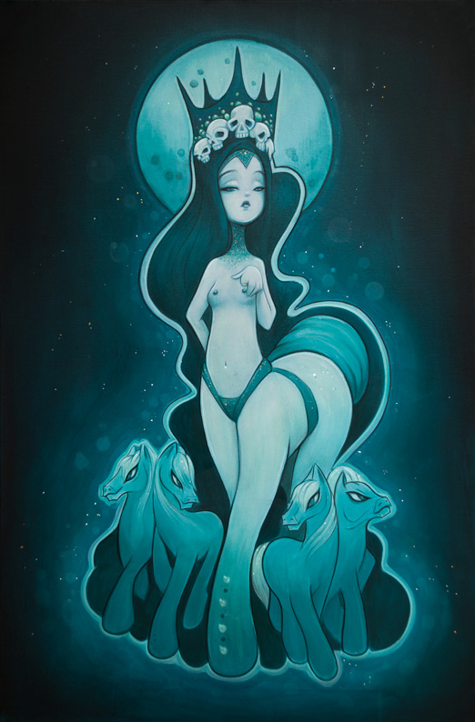 Original painting with 'my little ponies' for Bronies and pin up with skulls and crown Acrylic painting by anarkitty