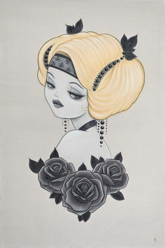 Honey: Original Arcylic Painting Inspired By 1920's Pin-ups And Glamour
