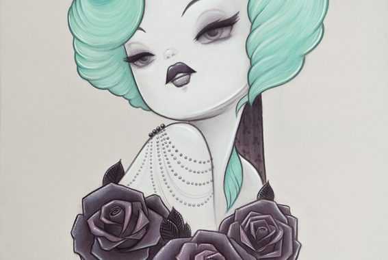 Original Painting By Anarkitty , 1920s Inspired Fashion Pin-up Tattoo Style Black Roses And Headband