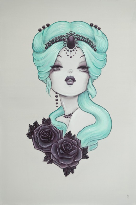1920's Pinup inspired Anarkitty Painting. With Candy coloured green blue Hair, tattoo style black roses and jewel headdress.