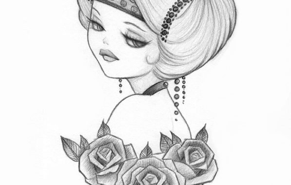Pencil Sketch, Honey : Flights Of Fancy Exhibition, 1920s  Inspired Pinups