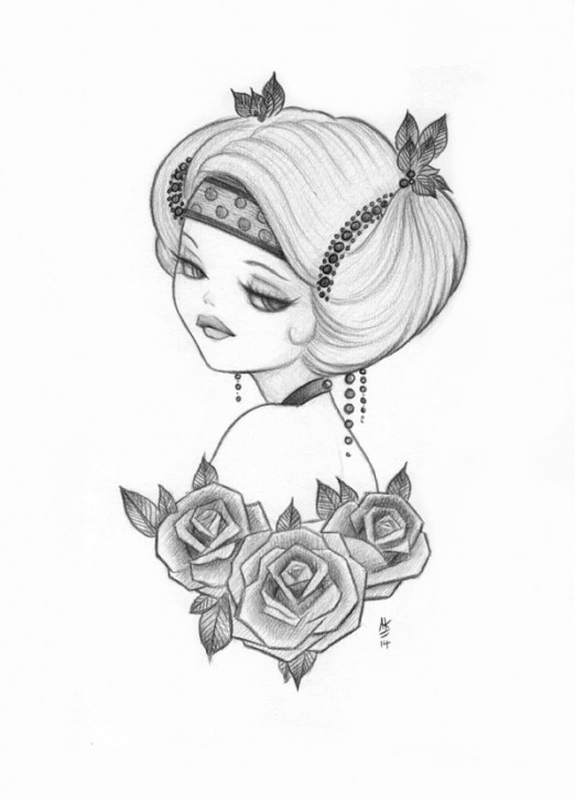Anakitty pencil sketch 1920s pinup
