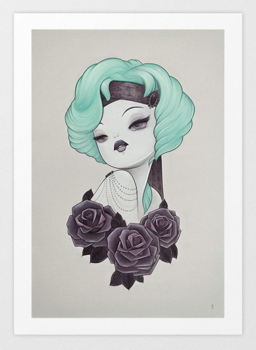 Vintage Print Style With Black Flower Paintings Around Her Shoulders And Teal Hair