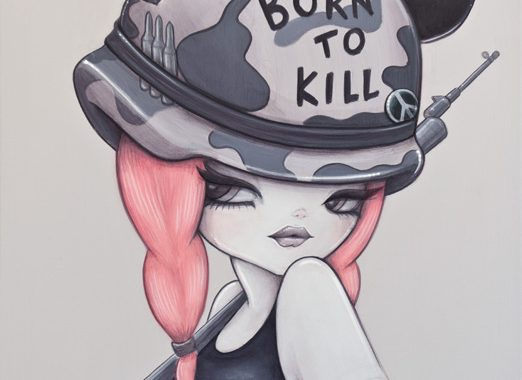 Acrylic Painting By Anarkitty Of Full Metal Jacket Inspired Pinup For Kubrick Art Show