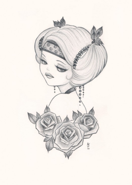 Pencil sketch by Anarkitty, pin-up with a 1920 headpiece and tattoo style roses.