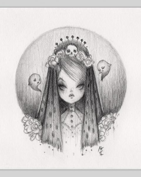 Original Pencil Drawing : Little Bride Of Doom