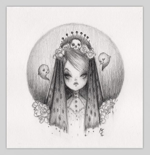 Original Pencil Drawing : Little Bride Of Doom