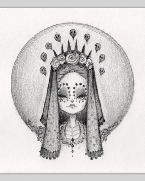 Original Pencil Drawing : Little Bride Of Muerte