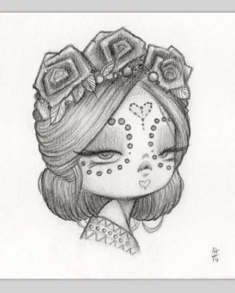 Original Pencil Drawing : Little Bride Of Woe