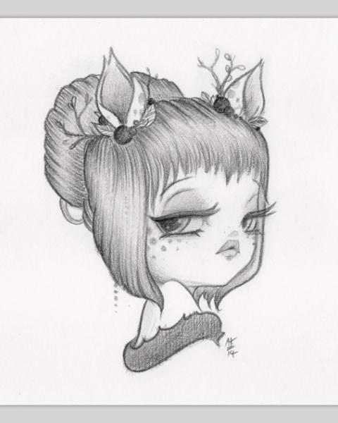 Original Pencil Drawing : Little Dear