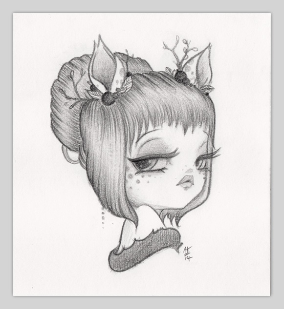 Original Pencil Drawing : Little Dear