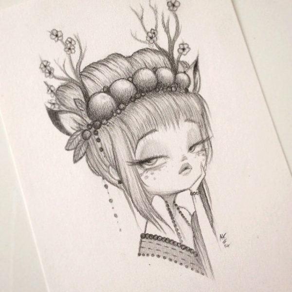 Original Pencil Drawing : My Little Dear