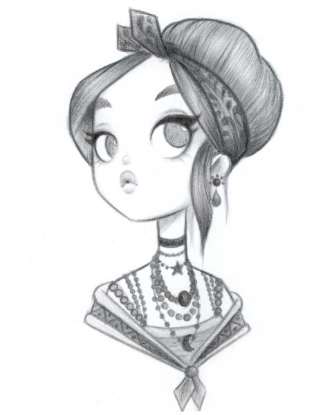 Original Pencil Drawing : Mystic Mia